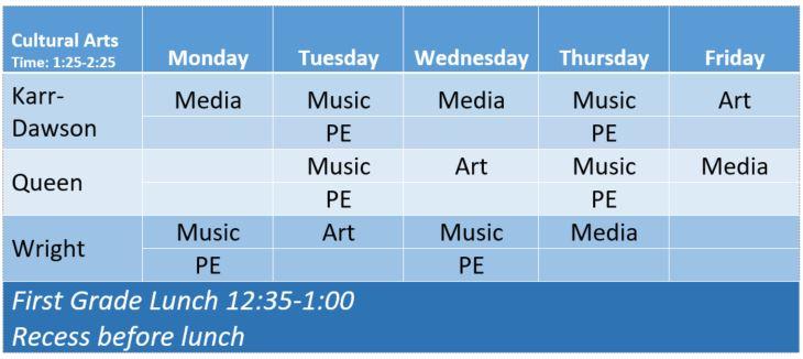 first grade schedule